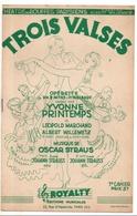 3 Airs De L'opérette Trois Valses, Marchand, Willemetz, Oscar Straus, Yvonne Printemps, Illustrateur Melac - Chant Soliste