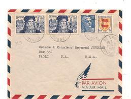 FRANCE 1952 ENVELOPPE  DE SAINT LAGER ( RHONE)  POUR PAOLI ( U.S.A.)  N° Y/T : 886-901-929 - 1921-1960: Moderne