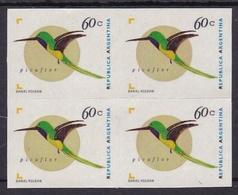 PICAFLOR, PAJARO BIRD OISEAUX. BLOC DE QUATRE ARGENTINA AÑO 1998 GJ JALIL 2724 A PAPEL AUTOADHESICO MNH TBE -LILHU - Unused Stamps