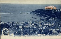 Cp Monte Carlo Monaco, Stadtpanorama, La Condamine, Blason - Monaco