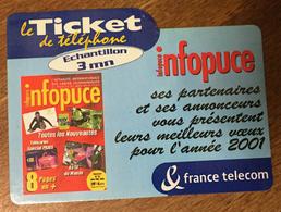 INFOPUCE FRANCE TELECOM TICKET TELEPHONE 3 MN NEUF CARTE TÉLÉPHONIQUE PHONECARD PAS TELECARTE - France