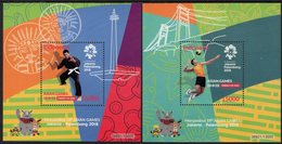 Indonesia - 2018 - 18th Asian Games In Jakarta - Set Of 2 Mint Souvenir Sheets - Indonesië