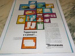 ANCIENNE PUBLICITEIL Y A PENSE TUPPERWARE 1968 - Advertising