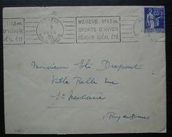 Mégève 1938 Obli Mécanique + Hôtel Du Bon Skieur à L'arrière - Marcofilia (sobres)