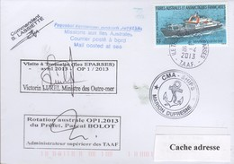 TAAF PLI ÎLES EPARSES TROMELIN TP 520 Obl. 16 4 2013 Paquebot MARION DUFRESNE Signé Du Cdt. Voir Recto/Verso - Terres Australes Et Antarctiques Françaises (TAAF)