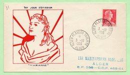 """FDC -  MARIANNE De MULLER :  """"ALGER PLATEAU SAULIERE""""  3/10/1955 - Algérie (1924-1962)"""