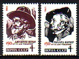 RUSSIA & USSR - 1963 - Anniversaires De Compositeuers Celebres Verdi Et Vagner - 2v** Yv 2677/78 - 1923-1991 URSS