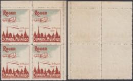 """FRANCE 1910 VIGNETTE SEMAINE D AVIATIN """"ROUEN """" EN BLOC DE 4  (DD) DC-7258 - 1960-.... Mint/hinged"""
