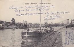 51 LE GRAND HAMEAU (ENVOYÉ DU) . PORT A BINSON. BORDS DE MARNE..PENICHE.+ TEXTE MILITARIA DU 3/7/1915 - Guerre 1914-18