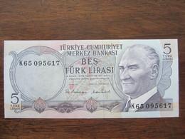 TURQUIE 5 LIRASI 14/10/1970 UNC - Turquia