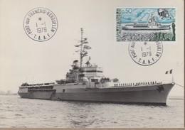 TAAF Carte  Postale Porte Hélicoptère JEANNE D'ARC Avec TP 75 Obl. KERGUELEN 1 1 1979 . Voir Recto/verso - Sin Clasificación