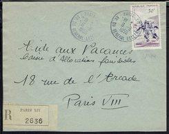 Fr - Timbre N° 1074 Sport Rugby 50 F. Seul Sur Enveloppe Recommandée à  Paris 6-9-1956 - B/TB - - Marcophilie (Lettres)