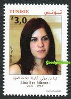 2020- Tunisia - Lina Ben Mhenni, The Free World Icon - Woman- Complete Set 1v.MNH** - Tunesien (1956-...)