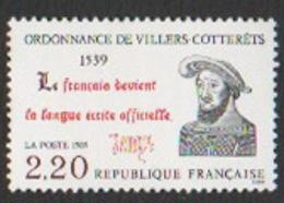 France Neuf Sans Charnière 1989 Histoire Ordonnance De Villers-Cotterêts Langue Française  YT 2609 - Francia