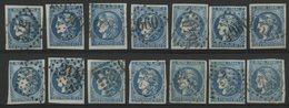 N° 46B (x14) Cote 350 € Ensemble De 14 Exemplaires Du 20ct Report 2 Dont Des Nuances Différentes. TB - 1870 Bordeaux Printing
