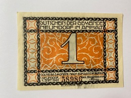 Allemagne Notgeld Neundorf 1 Mark - [ 3] 1918-1933 : République De Weimar