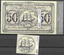 GREENLAND, 2020, MNH, OLD GREENLANDIC BANKNOTES, SHIPS, 1v+S/SHEET - Barcos