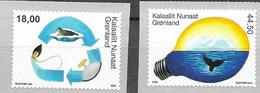 GREENLAND, 2020, MNH, ENVIRONMENT IN GREENALND, APRT IV, WHALES, SEALS, 2v - Environment & Climate Protection