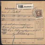 1911 Sweden - Paket Invoice / Delivery Return Card (?) From Stockholm To Göteborg With MI 47 - Schweden