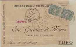 Colle S. Magno. 1899. Annullo Grande Cerchio COLLE S. MAGNO (CASERTA), Su Cartolina Postale Commerciale - Marcophilie