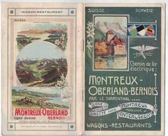 Montreux Oberland Bernois M.O.B. Train - Gstaad - Carnet De 30 Pages Avec Litho. Hôtels - Prix- Horaires 1909. - Tourism Brochures