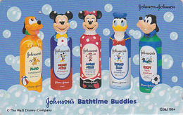 Télécarte JAPON/ 110-011 - DISNEY - JOHNSON ** Bathtime ** - Mickey Minnie Donald Chien Dog - JAPAN Phonecard - Disney