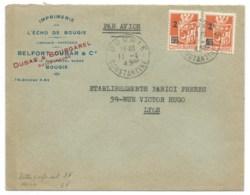 5f SURCHARGE 2f ARMOIRIES ORAN SUR ENVELOPPE / BOUGIE CONSTANTINE ALGERIE POUR LYON / 1945 / IMPRIMERIE DE L'ECHO - Lettres & Documents