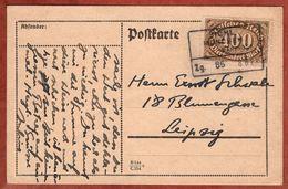 Karte, Queroffset, Per Bahnpost Bichl - Muenchen, Hohenschaeftlarn Nach Leipzig 1923 (91768) - Deutschland
