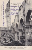 02 BERRY AU BAC..MILITARIA.  GUERRE 14-18 L'EGLISE APRES LES BOMBARDEMENTS.+ TEXTE DU 9/04/1916 ENVOYÉ DE 52 HALLENCOURT - Guerre 1914-18