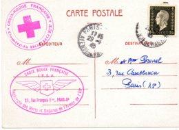 """FRANCE.1945.1 PLI """"AVIATION-CROIX-ROUGE"""".RARE """"MARIANNE-DULAC"""" Seule Sur C.P. - Marcophilie (Lettres)"""