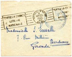 """FRANCE.1940.RARE CACHET """"HOPITAL BENEVOLE DE GUERRE AMERICAIN...""""LOTERIE NATIONALE"""". - Marcophilie (Lettres)"""