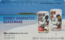 TC Ancienne JAPON / 110-011 - DISNEY ** GLASSWARE ** - Tasses Mickey & Minnie & Beach - JAPAN Phonecard - Disney