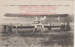 "CPA          ROUEN (76) GRANDE SEMAINE D'AVIATION  BIPLAN BREGUET PILOTE "" BATHIAT "" PIQUAGE PUB. RECTO VERSO - Meetings"