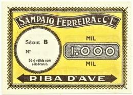 RIBA D'AVE - Sampaio, Ferreira & C. L.da - 1000 - M.A. Não Catalogada - ND - Portugal - Emergency Paper Money Notgeld - Portogallo