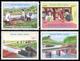 100 - Laos 1988  Y&T 883/886  Mi# 1113/1116 ** MNH  1st Five-year Plan - Laos