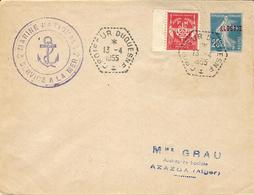 """1955- Enveloppe Affr. Mixte  F M + Semeuse Algérie Oblit. Cad Hexag. """" CROISEUR DUQUESNE """" - Correo Naval"""