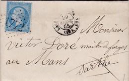 LAC De La Haye-Descartes (37) Pour Le Mans (72) - 29 Avril 1865 - Timbre YT22 + Ob. Losange GC 1772 - CAD Rond Type 15 - 1849-1876: Periodo Classico