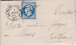 LAC De La Haye-Descartes (37) Pour Le Mans (72) - 2 Août 1865 - Timbre YT22 + Ob. Los. GC 1772 - CAD Type 15 + Ambulant - 1849-1876: Periodo Classico