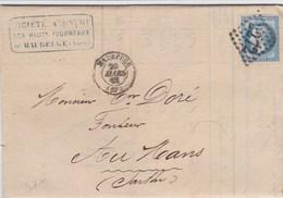 LAC De Maubeuge (59) Pour Le Mans (72) - 20 Mars 1868 - Timbre YT29 + Ob. Losange GC 2272 - CAD Rond Type 15 + Ambulant - 1849-1876: Klassik