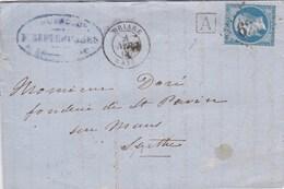 LAC De Briare (45) Pour Le Mans (72) - 4 Novembre 1866 - Timbre YT22 + Ob. Los. GC 623 - CAD 15 + Ambulant + Cachet A - Marcophilie (Lettres)