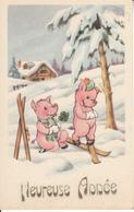 Fantaisie - Ancienne - Bonne Année - Les Petits Cochons - Nouvel An