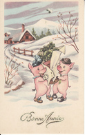 Fantaisie - Ancienne - Bonne Année - Les Petits Cochons - Neujahr