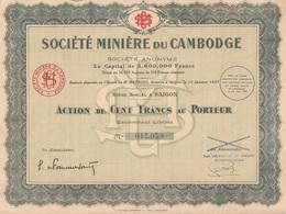 Indochine - Société Minière Du Cambodge - Capital De 3 600 000 F / Action De 100 F - Asie