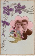 Fantaisie - Ancienne - Amour -  Carte Luxe Avec Montage Photo Et Paillettes - Couples
