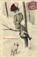 Illustrateur H Z Jeune Femme Chapeau Sur Une Branche D'arbre Effrayée Par Un Cochon RV - Femmes