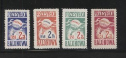 POLAND 1959 BALLOON POST STAMPS SET OF 4 NHM WARSZAWA KATOWICE POZNAN SYRENA BALLOONS FLIGHT TRANSPORT - Polen