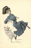 Illustrateur H Z Jeune Chapeau Dansant Avec Un Cochon RV - Femmes