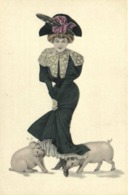Illustrateur H Z Jeune Chapeau Se Faisant Lecher Les Pieds Par Des Cochons ! RV - Donne