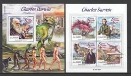 ST540 2015 SIERRA LEONE FAMOUS PEOPLE CHARLES DARWIN DINOSAURS 1KB+1BL MNH - Preistorici