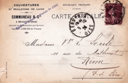 60 - Oise - BEAUVAIS - Carte Publicité - Couvertures Et Molleton De Laine Communeau Et Cie - 1924 - Beauvais
